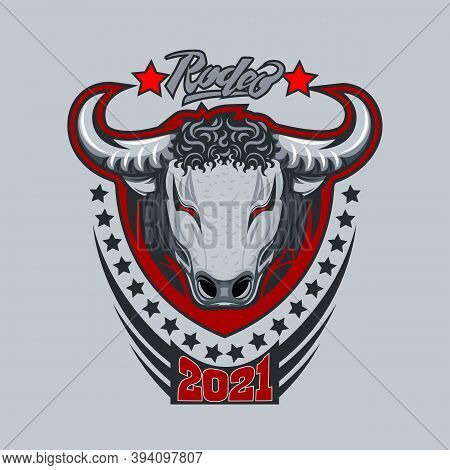 Bull Logo With The Inscription Rodeo On A Gray Background.