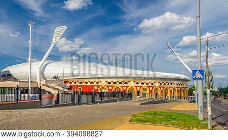 Minsk, Belarus, July 26, 2020: Dinamo National Olympic Stadium With Floodlight Pylons Lights Towers