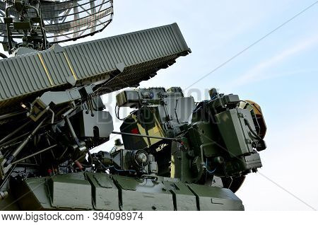 Anti-aircraft Missile System. Combat Multifunctional Robotic Complex. Machine Gun And Grenade Launch