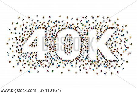 Thank You Followers Peoples, 40k Online Social Group, Happy Banner Celebrate, Vector