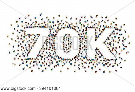 Thank You Followers Peoples, 70k Online Social Group, Happy Banner Celebrate, Vector