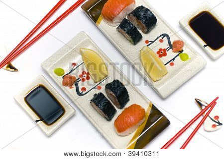 Sushi set for two persons.