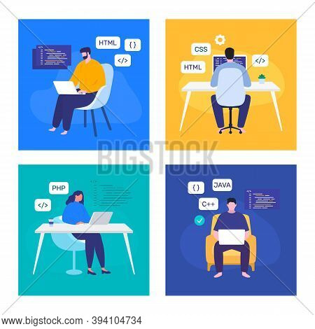 Programmers Coding. Web Development. Remote Freelance Coders. Vector