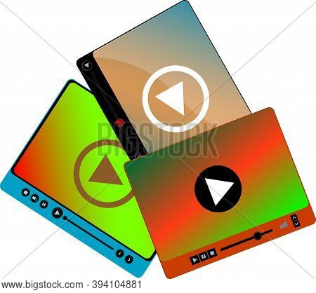 Video Player In A Flat Style. Video Player For The Web. Video And Audio Player Set Isolated On White