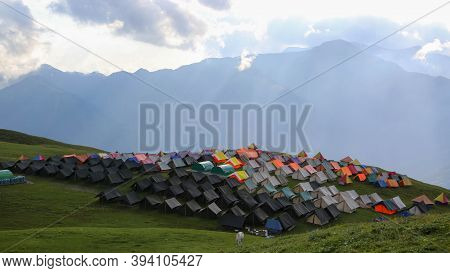 Himalayan Meadows, Grass Land And Tent Colony In India. The Eastern Himalayan Alpine Shrub And Meado