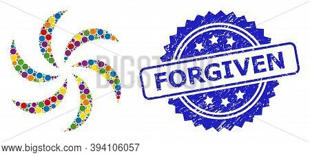 Circle Mosaic Turbine Rotation And Forgiven Grunge Stamp Print. Blue Stamp Seal Includes Forgiven Ti