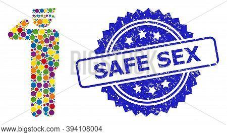 Rounded Dot Collage Police Officer And Safe Sex Unclean Stamp Seal. Blue Stamp Seal Includes Safe Se