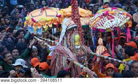 Chamoli, Uttarakhand, India, April 08 2014, Nanda Devi Raj Jat Yatra Dev Doli In Himalaya Uttarakhan