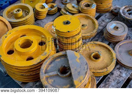Steel Large Yellow Pulleys. Details For The Construction Of Communications