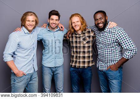 Best Friends Forever. Portrait Of Positive Four Man Fellows Hug Embrace Enjoy Team Support Respect W