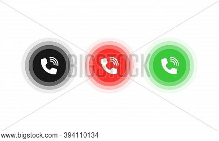 Answer And Decline Button. Icon For Website Design, Mobile App, Ui. Vector Eps 10. Isolated On White