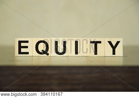 Word Equity Made With Wood Building Blocks