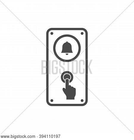 Door Bell Icon. Finger Pressing Doorbell Button. Pointer.