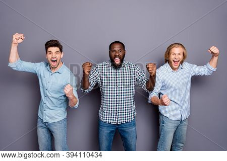 Portrait Of Three Nice Attractive Cheerful Cheery Crazy Overjoyed Guys Best Buddy Fellow Fan Celebra