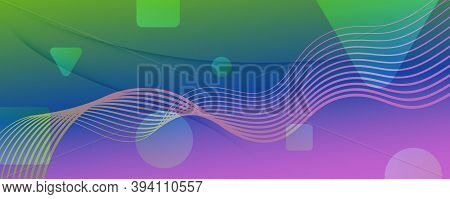 Flow Geometric Abstract. Curve Gradient Line Background. Colorful Digital Poster. Modern Futuristic