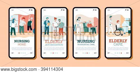 Onboarding Pages Set For Nursing Home Services With Cartoon People, Flat Vector Illustration. Mobile