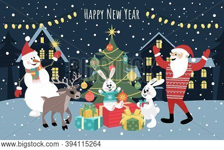New Year\'s Illustration With The Image Of Cheerful Hares, Santa Claus, Snowman, Deer Near The Tree.