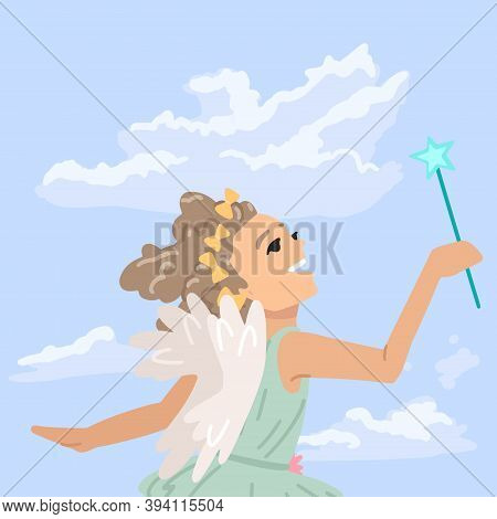 Girl Dressed As A Fairy, Little Angel Flies In The Sky, A Little Sorceress In The Clouds. Vector Cha