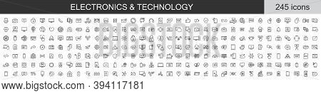 Big Set Of 245 Electronics And Technology Icons. Thin Line Icons Collection. Vector Illustration