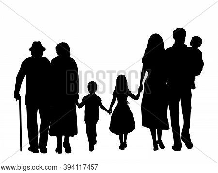 Family Silhouettes Grandparents Father Mother And Three Children From Back. Illustration Graphics Ic