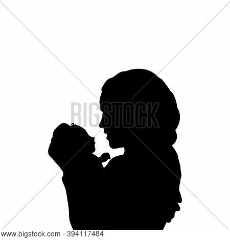 Silhouette Happy Father Holding Newborn Little Baby Close Up. Illustration Graphics Icon Vector