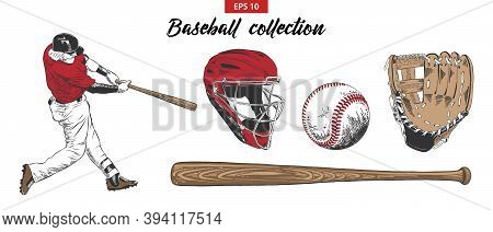 Vector Engraved Style Illustration For Posters, Decoration. Hand Drawn Sketch Set Of Baseball Player