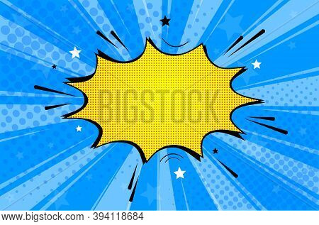 Pop Art Retro Comic. Yellow-blue Background Superhero. Lightning Blast Halftone Dots. Cartoon Vs. Ve