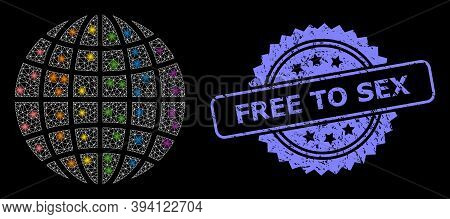 Flare Network Lgbt World With Light Spots, And Free To Sex Scratched Ribbon Stamp Seal. Blue Stamp S