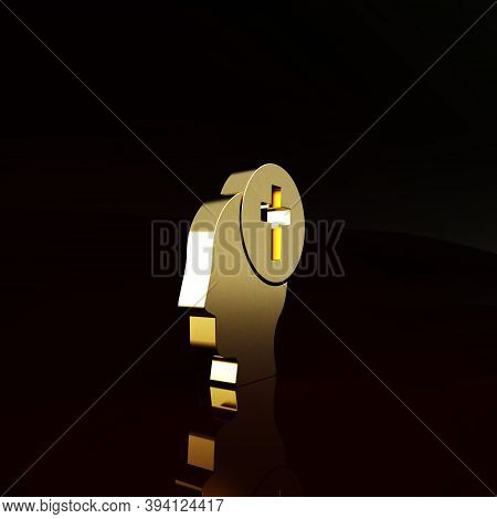Gold Man Graves Funeral Sorrow Icon Isolated On Brown Background. The Emotion Of Grief, Sadness, Sor