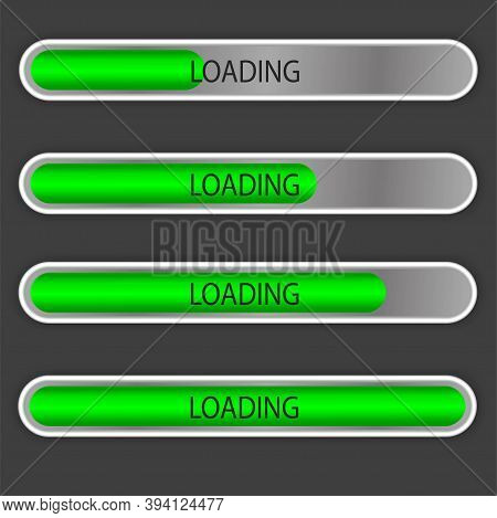 A Set Of Download Progress Icons, Speed Indicator, Displaying The Status Of Downloading A File From
