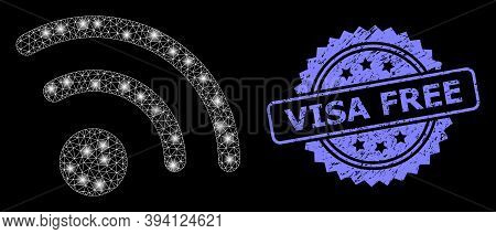 Bright Net Radio Signal With Glowing Spots, And Visa Free Rubber Ribbon Stamp Seal. Blue Stamp Has V