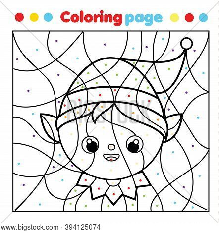 Christmas Elf Coloring Page. Color By Dots, Printable Activity. Children Educational Game New Year H