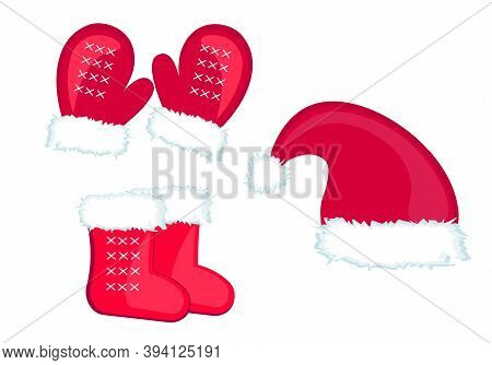 Set, Red Hat Of Santa Claus, Mittens, Felt Felts, Socks With White Fur. Merry Christmas Happy New Ye