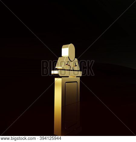Gold Speaker Icon Isolated On Brown Background. Orator Speaking From Tribune. Public Speech. Person