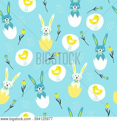 Vector Illustration Easter Bunnies Inside Eggshells, Chickens, And Flowers Seamless Repeat Pattern O