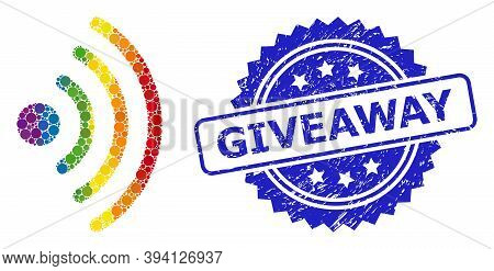 Rainbow Gradient Colored Round Dot Collage Wi-fi Source, And Giveaway Textured Rosette Seal. Blue Se