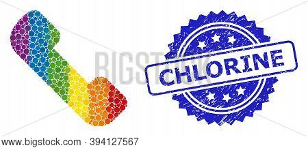 Rainbow Gradient Colorful Rounded Dot Mosaic Phone Receiver, And Chlorine Grunge Rosette Stamp Seal.