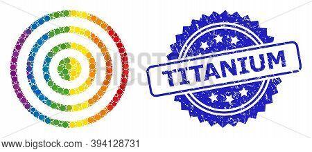 Spectrum Gradient Vibrant Circle Collage Concentric Circles, And Titanium Dirty Rosette Stamp Seal.