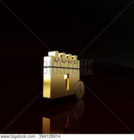 Gold Calendar With First September Date Icon Isolated On Brown Background. September 1. Date And Tim