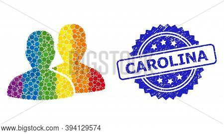 Bright Gradient Colored Rounded Dot Mosaic Users, And Carolina Dirty Rosette Stamp. Blue Stamp Seal