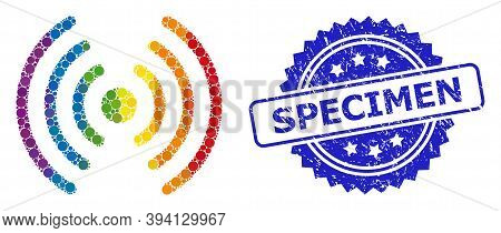Bright Gradient Colored Rounded Dot Collage Wi-fi Signal, And Specimen Grunge Rosette Stamp Seal. Bl