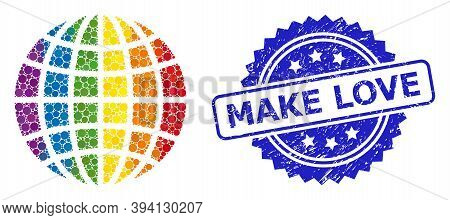 Spectrum Gradient Colorful Circle Collage Lgbt Globe, And Make Love Scratched Rosette Stamp Seal. Bl