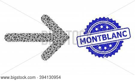 Vector Recursive Mosaic Right Arrow, And Montblanc Corroded Stamp Seal. Blue Seal Has Montblanc Titl