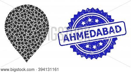 Vector Recursive Collage Map Pointer, And Ahmedabad Scratched Seal. Blue Stamp Seal Has Ahmedabad Ti