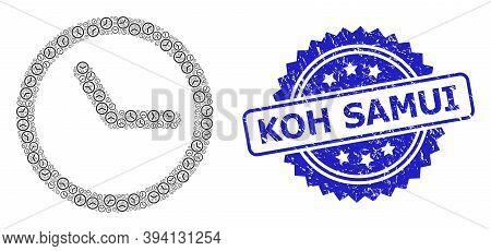 Vector Fractal Mosaic Clock, And Koh Samui Textured Stamp Seal. Blue Stamp Seal Includes Koh Samui T