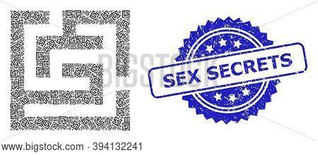 Vector Recursion Mosaic Labyrinth, And Sex Secrets Rubber Seal Imitation. Blue Stamp Seal Has Sex Se