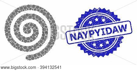 Vector Recursive Collage Hypnosis Spiral, And Naypyidaw Rubber Seal Print. Blue Stamp Seal Has Naypy