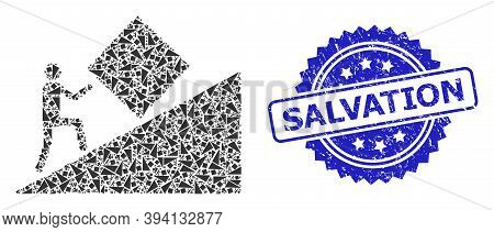 Vector Fractal Mosaic Pointless Task, And Salvation Textured Stamp Seal. Blue Stamp Seal Has Salvati