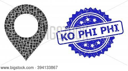 Squared Dot Collage Map Mark And Ko Phi Rubber Stamp. Blue Stamp Seal Includes Ko Phi Caption Inside