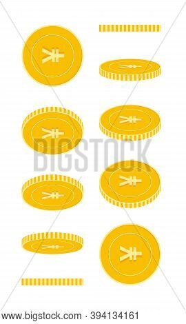 Chinese Yuan Coins Set, Animation Ready. Cny Yellow Coins Rotation. China Metal Money In Different P